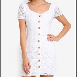 NWOT White Floral Lacs Button-Up Mini Dress